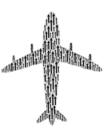 airbus: isolated the airplane shape filled with arrows on white background Illustration