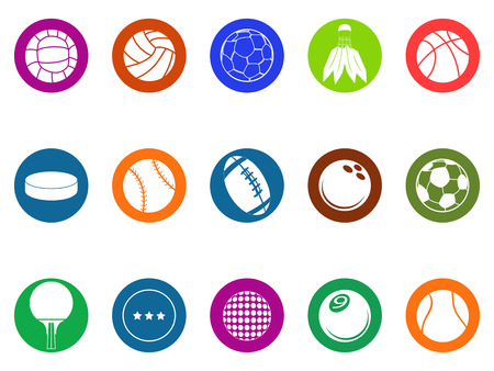 isolated ball button icons set from white background Vector
