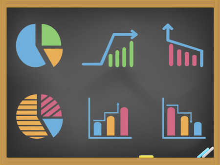 isolated hand drawn business diagram icons on blackboard Vector