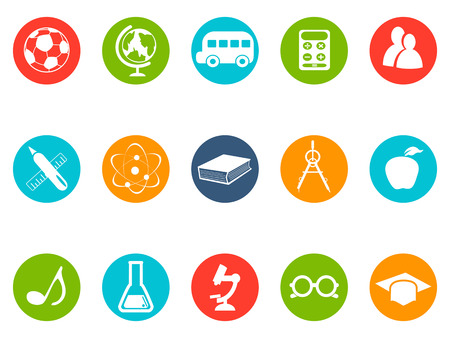 button icons: isolated education button icons set from white background Illustration