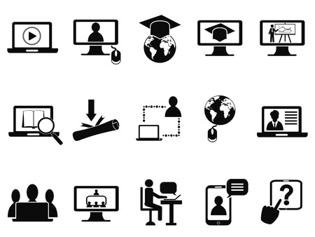 self study: isolated online education class icons set from white background Illustration
