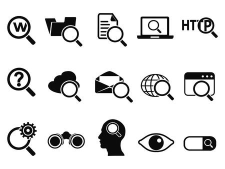 lupas: iconos de búsqueda aislados fijados de fondo blanco