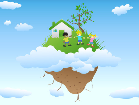 the house with happy kids playing on floating island in blue sky with clouds Vector