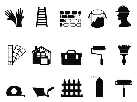 ladder  fence: isolated house painting icons set from white background