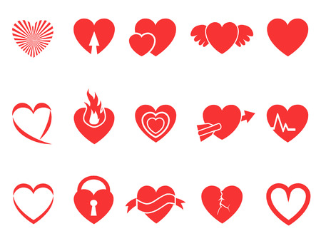 isolated red heart icons for Valentines Day design Vector