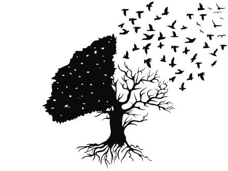 palomas volando: aves aisladas que vuelan desde el árbol en el fondo blanco