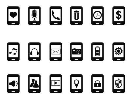 mobile icons: isolated black mobile icons set from white background