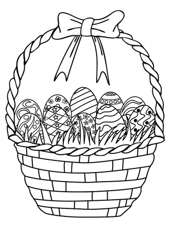 isolated hand drawn Basket of Easter eggs outline,coloring page on white background