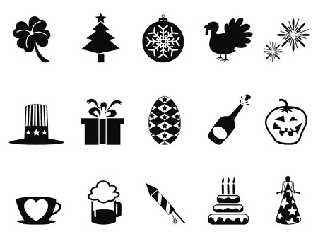 isolated black holiday and event icons set from white background Vector