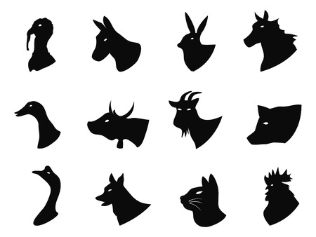 isolated Farm animals icons set from white background