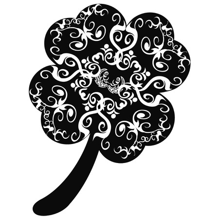 isolated ornate clover leaf with celtic patterns on white background Vector
