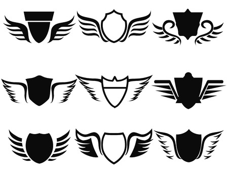 shield wings: isolated black shield wings icon on white background