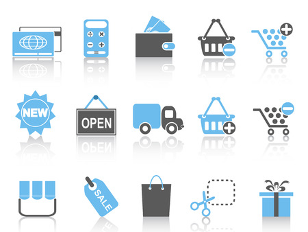add to shopping cart icon: isolated shopping icons set ,blue series from white background
