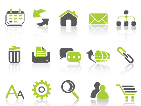 isolated web internet icons ,green series from white background Vettoriali