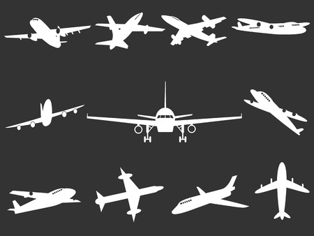 airbus: isolated White Airplane silhouettes from black background Illustration