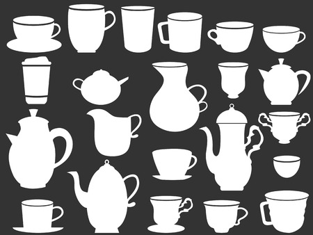 coffee pot: isolated white coffee and tea cups silhouettes from black background