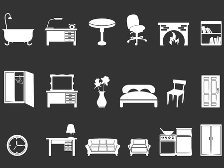 fireplace home: isolated white furniture silhouettes from black background
