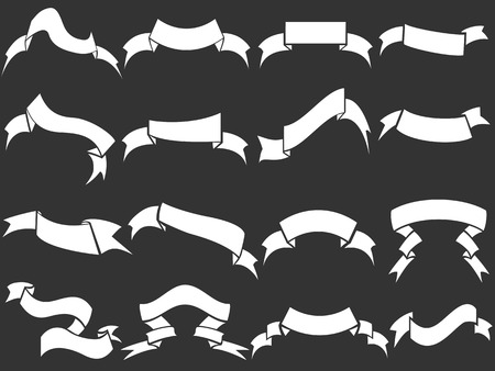 scroll banner: isolated White ribbons set on black background