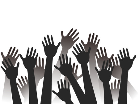 elect: black hands raised silhouettes with copy space background