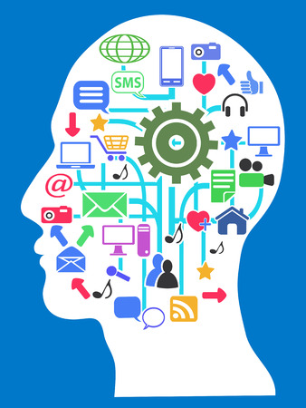 isolated human head with media network icons on blue background Vector