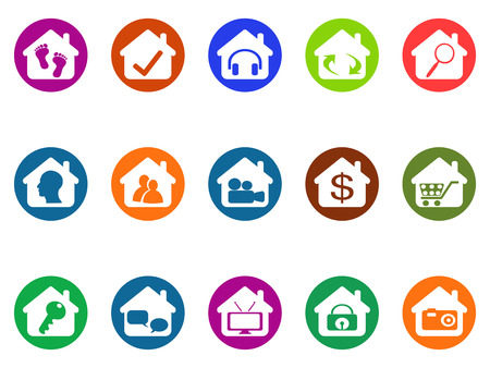 dollar sign icon: isolated house real estate buttons icons set from white background Illustration