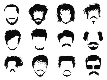 sideburn: isolated man hairstyle vector from white background