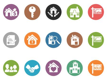 Isolati pulsante immobiliare icone da sfondo bianco Archivio Fotografico - 37184693