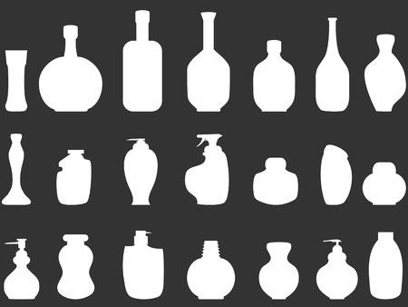 hand wash: isolated white Bathroom bottles silhouettes on black background