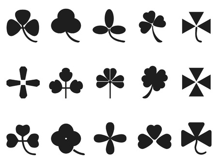 isolated clover leaf icons set frmo white background Vector