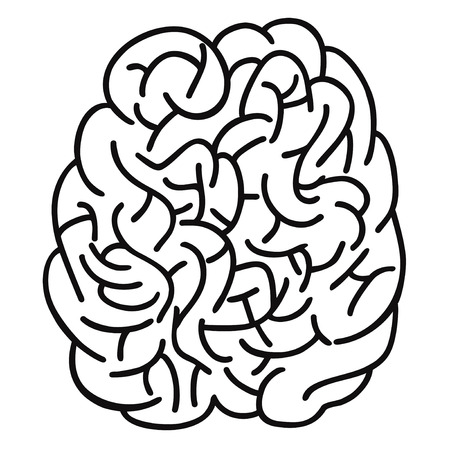 fissures: isolated doodle human brain Outline design on white background