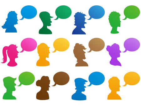 isolated colorful human head with speech bubble icons set on white background Vector