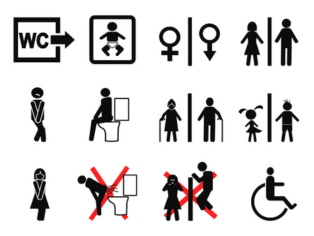 wc sign: isolated black bathroom symbol on white background