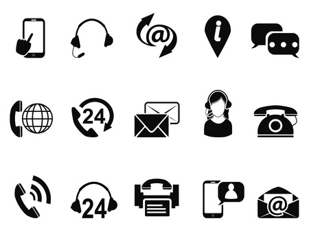 isolated black contact us service icons set from white background 矢量图像