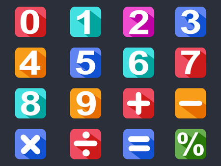 isolated numbers and math long shadow icons set on black background