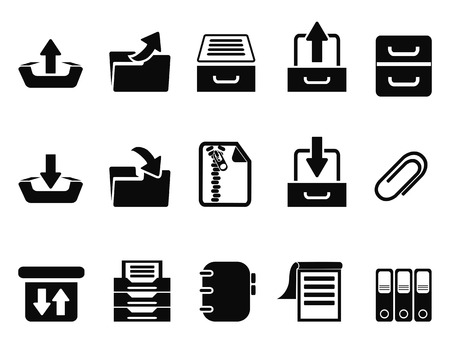 index card: isolated black Archive icons set from white background