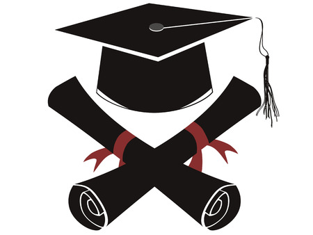 alumnus: the background of isolated black graduation cap and diploma