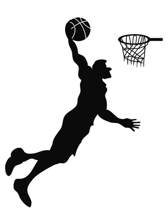 dunk: isolated the silhouette of Basketball player Slam Dunk from white background