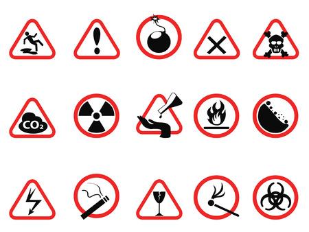 aislados iconos de peligro establecidas, triangulares y círculo señales de peligro del peligro de fondo blanco