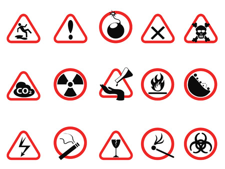 electricity danger of death: isolated danger icons set, Triangular and circle Warning Hazard Signs from white background