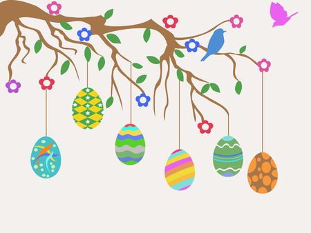 the easter card design of easter egg hanging on flowers tree with birds flying Vector