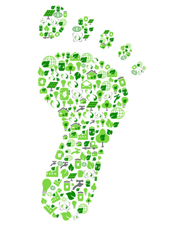 carbon footprint: isolated green eco friendly footprint filled with ecology icons from white background