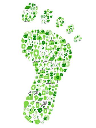 isoliert grün umweltfreundliche Footprint mit Ökologie Icons aus weißem Hintergrund gefüllt