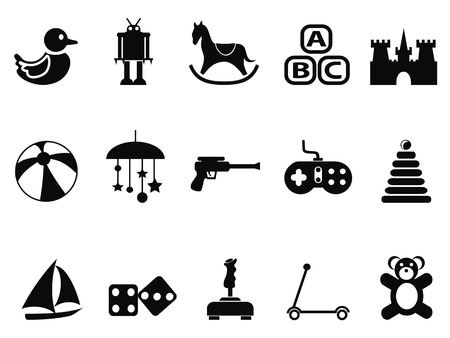 isolated black toy icons set from white background