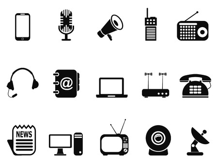 adress book: isolated black communication device icons set from white background Illustration