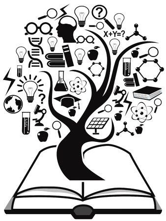 isolated black education icons tree up from book on white background Vector
