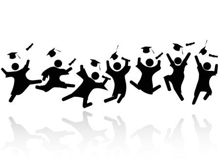 graduacion caricatura: aislado alegre graduó estudiantes saltando con sombras sobre fondo blanco Vectores