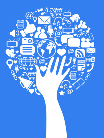 organization design: isolated hand tree with social media icons on blue background