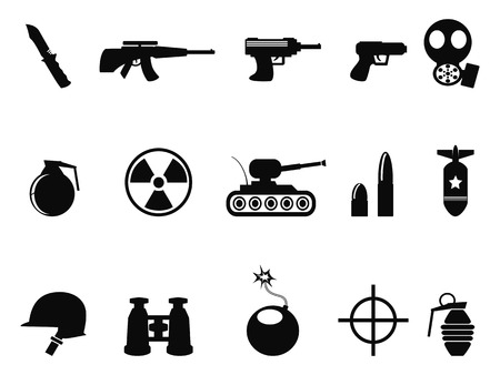 army gas mask: isolated Black Military and Army Icons set from white background