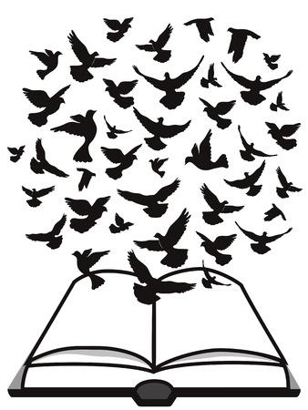paloma volando: Aislado un grupo de paloma volando por encima de la biblia de fondo blanco, Biblia Esp�ritu Santo Vectores