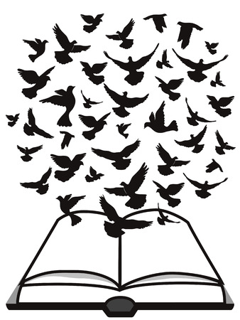 dove flying: Isolated a group of dove flying above the bible from white background,Bible Holy Spirit Illustration